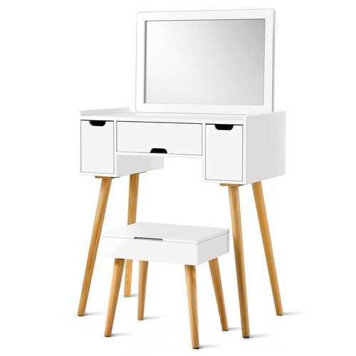 3 Drawers Large Mirror Makeup Dressing Table & Storage Stool Set