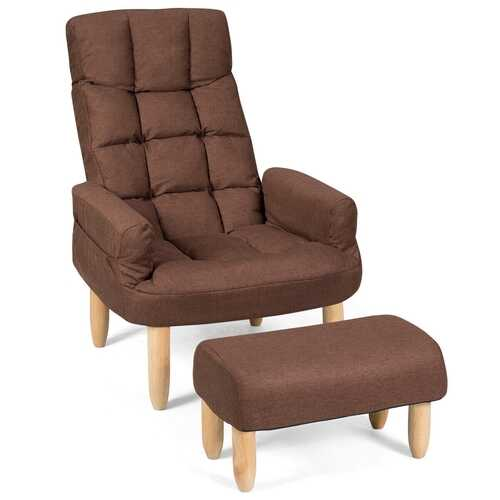 Living Room Lazy Sofa Armchair Adjustable Backrest & Headrest-Coffee