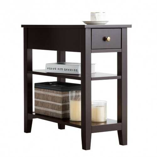 3-Tier Nightstand Bedside Table Sofa Side with Double Shelves Drawer-Coffee