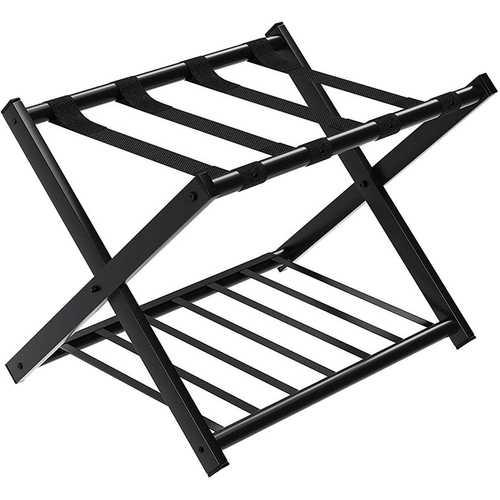 Folding Metal Luggage Rack Suitcase with Shelf Black