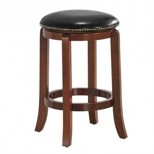 "24""Bistro Leather Padded  Backless Swivel Bar stool"