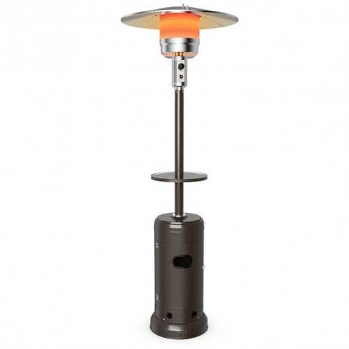 Outdoor Heater Propane Standing LP Gas Steel with Table & Wheels-Brown - Color: Brown