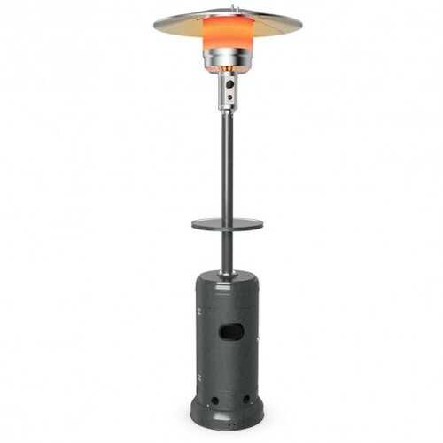 Outdoor Heater Propane Standing LP Gas Steel with Table & Wheels-Gray - Color: Gray