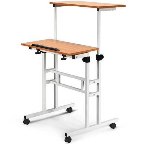 2 in 1 Height Adjustable Sit Standing Computer Desk