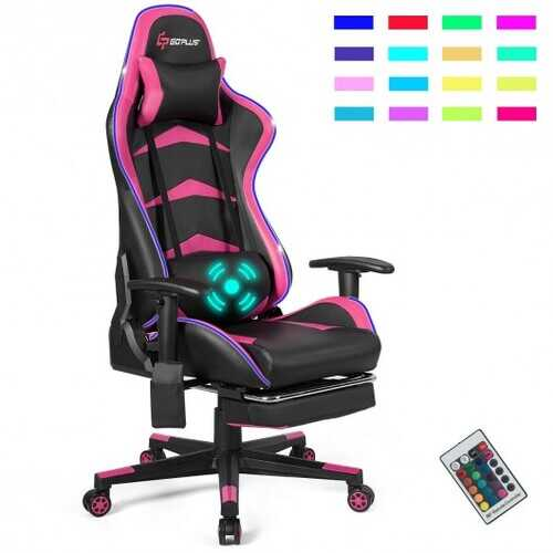 """Massage LED Gaming Chair with Lumbar Support & Footrest-Pink - Color: Pink - Size: 28.5"""" x 28.5"""" x (50"""" - 54"""")"""