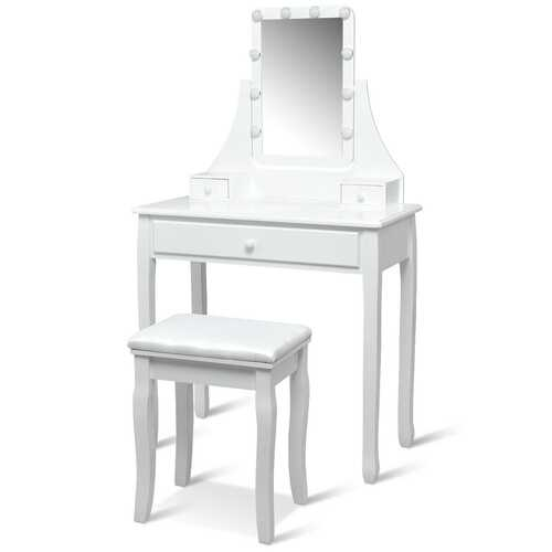 10 LED Lighted Mirror and 3 Drawers Vanity Table Set-White