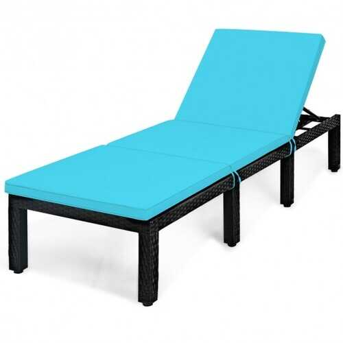 Patio Rattan Cushioned Height Adjustable Lounge Chair-Blue - Color: Blue