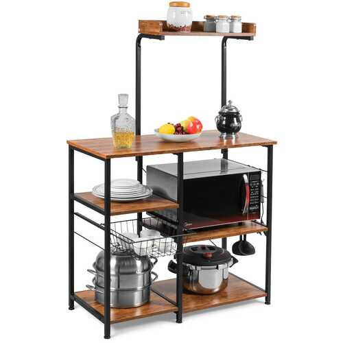 4 Tier Vintage Kitchen Baker's Rack Utility Microwave Stand-Coffee
