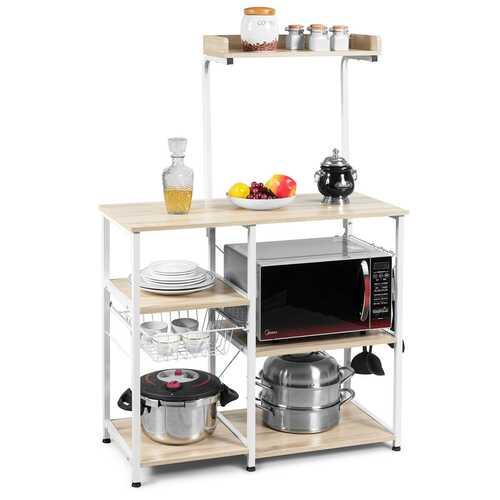 4 Tier Vintage Kitchen Baker's Rack Utility Microwave Stand-Natural