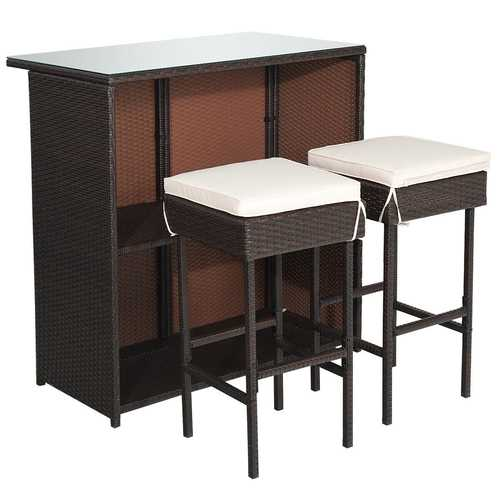 3-piece Rattan Wicker Bar Table Stools Dining Set Cushioned Chairs - Color: Beige