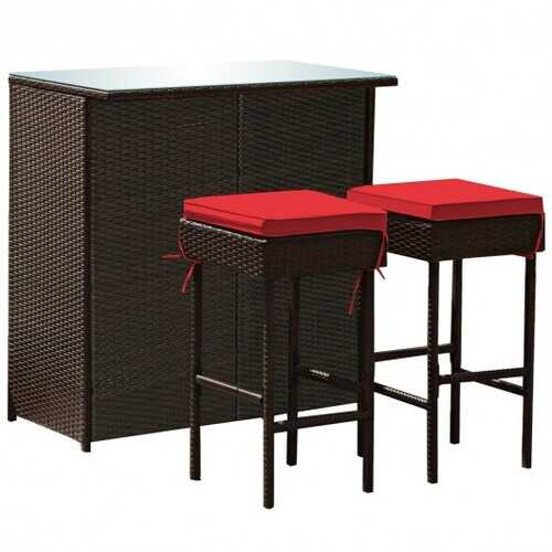 3PCS Patio Rattan Wicker Bar Table Stools Dining Set-Red - Color: Red
