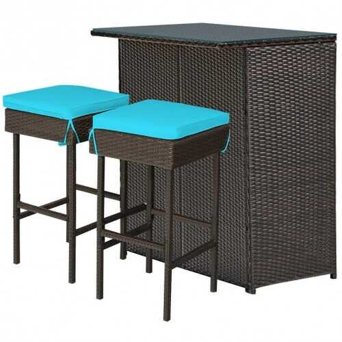 3PCS Patio Rattan Wicker Bar Table Stools Dining Set-Turquoise - Color: Turquoise