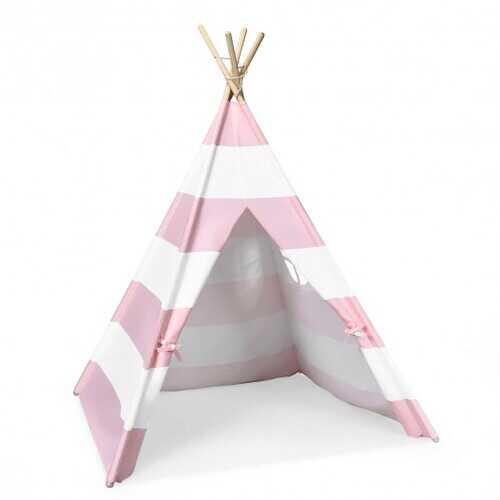 5' White & Pink Portable Indian Children Sleeping Dome Play Tent