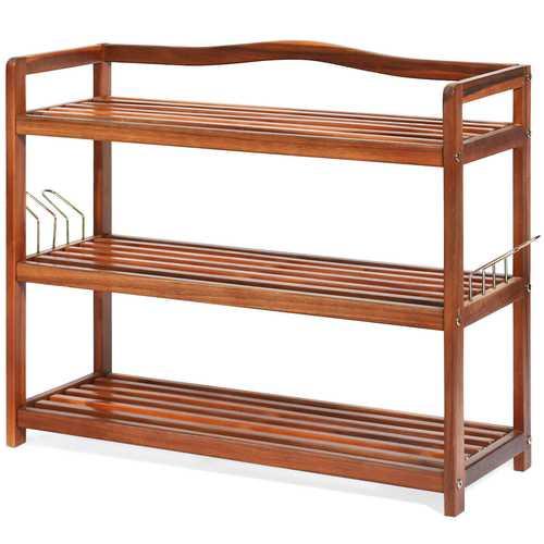 3-Tier Wood Shoe Rack Freestanding Shoe Storage Organizer