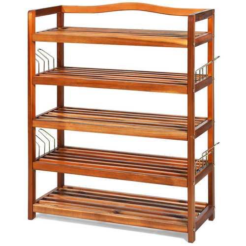 5-Tier Wood Shoe Rack Freestanding Shoe Storage Organizer
