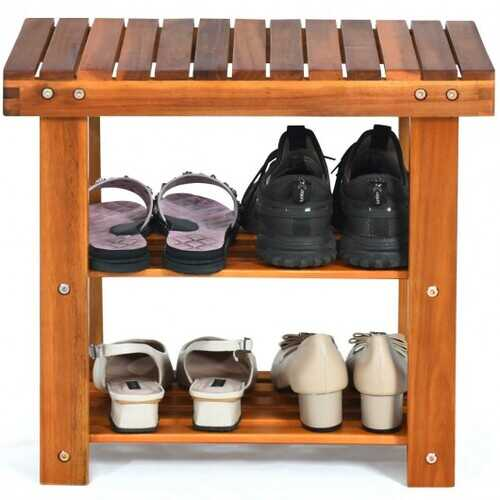 3-Tier Wood Shoe Rack 19' Shoe Bench Boots Organizer