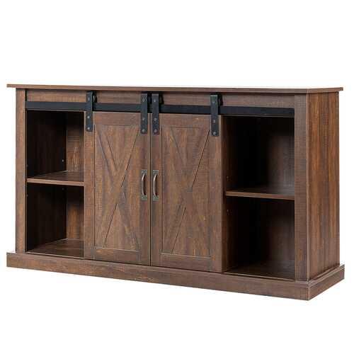 Sliding Barn Door TV Stand with Storage-Brown