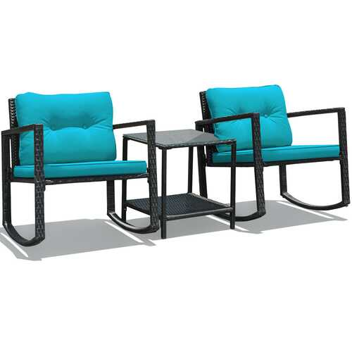 3 Pcs Wicker Rocking Bistro Set with Glass Coffee Table and Storage Shelf-Blue - Color: Blue