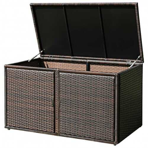 88 Gallon Garden Patio Rattan Storage Container Box-Brown - Color: Brown