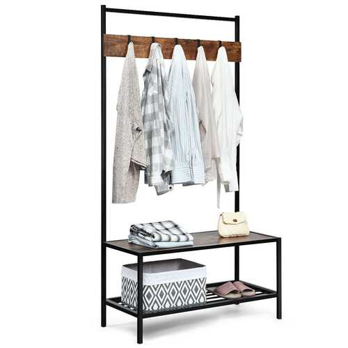 3 in 1 Industrial Coat Rack with 2-tier Storage Bench and 5 Hooks-Coffee