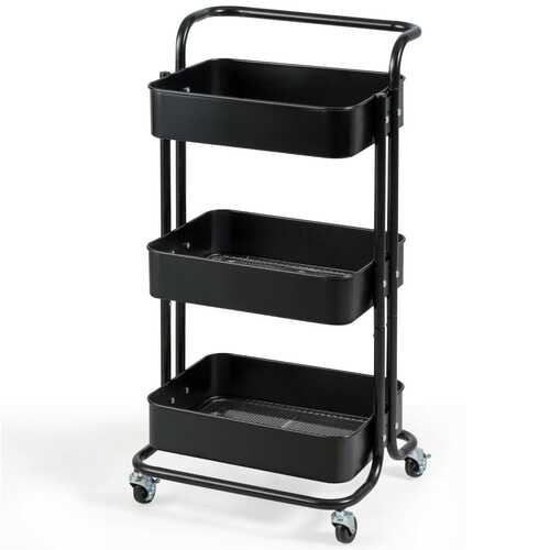 3-Tier Metal Rolling Storage Cart Trolley 2 Brakes with Handle