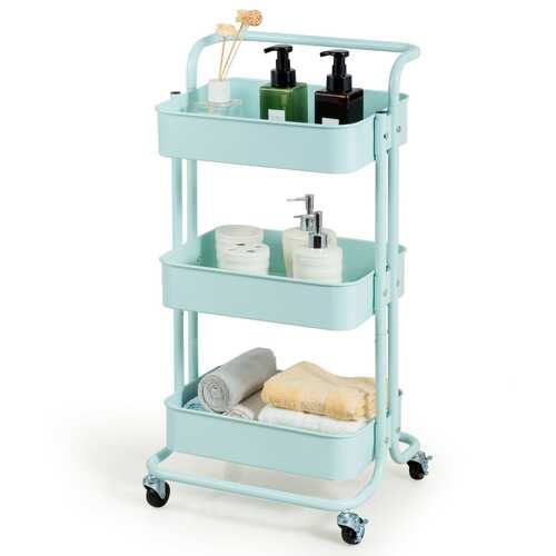 3-Tier Metal Rolling Storage Cart Trolley 2 Brakes with Handle-Green