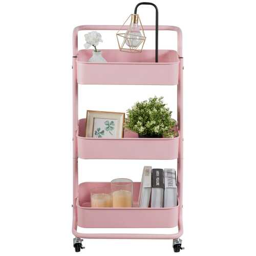 3-Tier Metal Rolling Storage Cart Trolley 2 Brakes with Handle-Pink