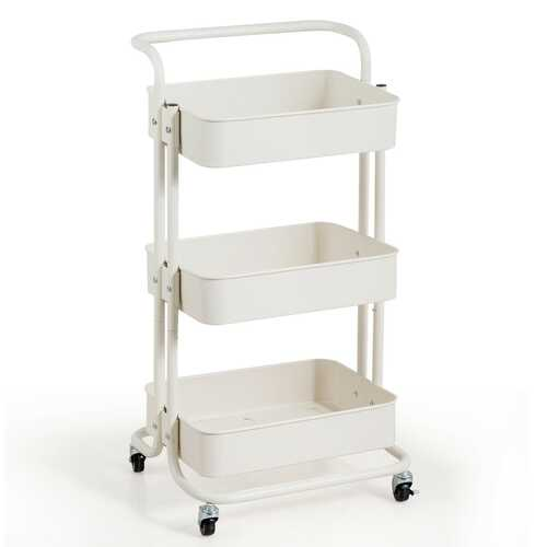 3-Tier Metal Rolling Storage Cart Trolley 2 Brakes with Handle-White