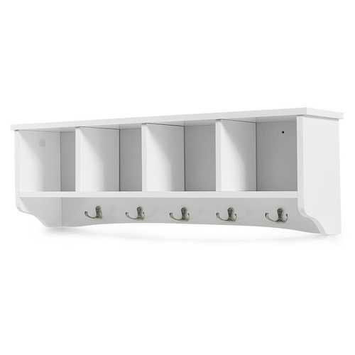 Wall-Mounted Storage Cabinet Hanging Entryway Shelf Coat Rack
