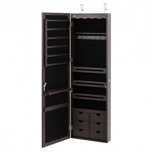 "5 LEDs Mirror Jewelry Armoire Wall Door Mounted-Coffee - Color: Coffee - Size: 14.5"" x 4.5"" x 47.5"""