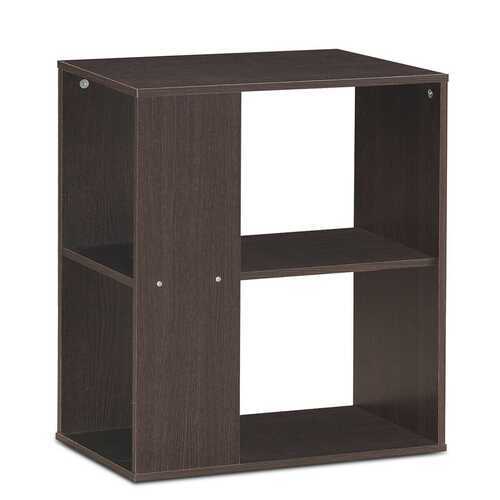 2-Tier Side End Table with Storage Shelves -Brown