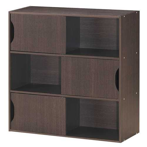 3-cube Bookcase Cabinet with Humanized Grooved Handles
