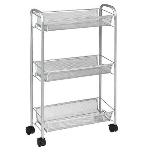 3-Tier Mesh Rolling Cart Mobile Organizer Stand Utility Cart Trolley-Gray
