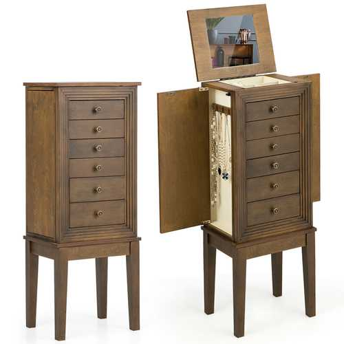 Standing Jewelry Cabinet Armoire with Makeup Mirror and Drawers