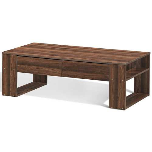 "47"" Rectangular Cocktail Coffee Table with Storage Drawers"