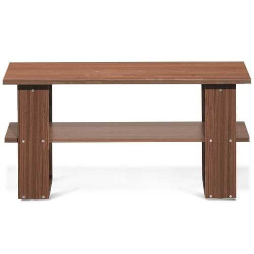 Coffee Table Living Room Furniture with Storage Shelf-Brown