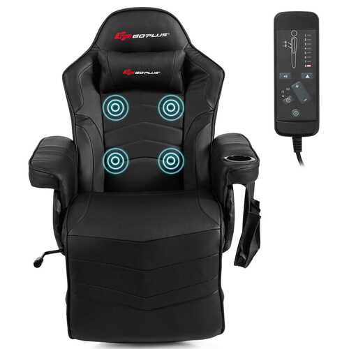 Ergonomic High Back Massage Gaming Chair with Pillow-Black - Color: Black