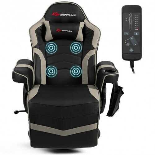 Ergonomic High Back Massage Gaming Chair with Pillow-Gray - Color: Gray