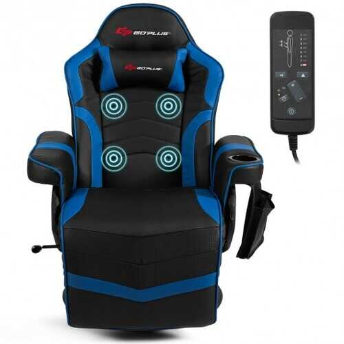 Ergonomic High Back Massage Gaming Chair with Pillow-Blue - Color: Blue