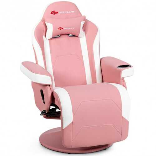 Ergonomic High Back Massage Gaming Chair with Pillow-Pink - Color: Pink