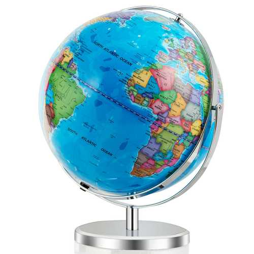"13"" Illuminated World Globe 720?° Rotating Map with LED Light"