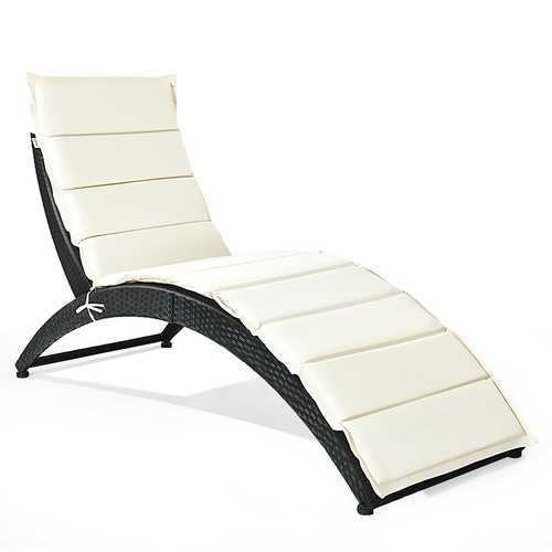 Folding Patio Rattan Lounge Cushioned Portable Chair - Color: Beige