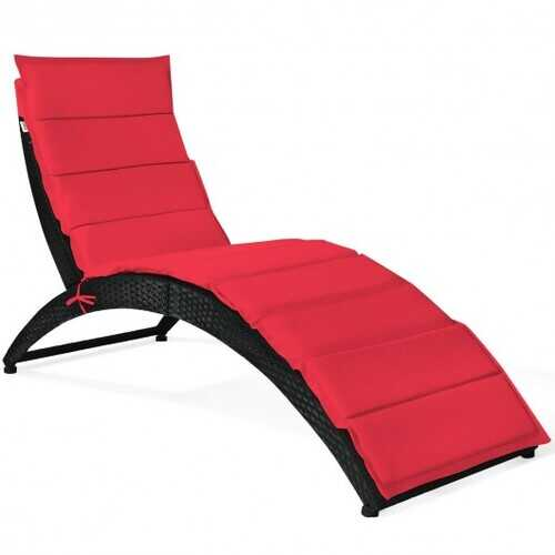 Folding Patio Rattan Portable Lounge Chair Chaise with Cushion-Red - Color: Red