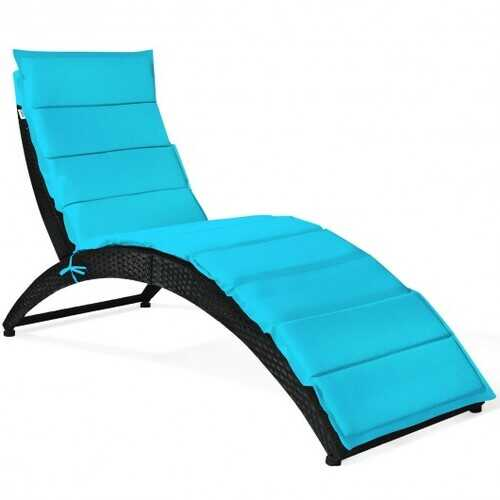 Folding Patio Rattan Portable Lounge Chair Chaise with Cushion-Turquoise - Color: Turquoise
