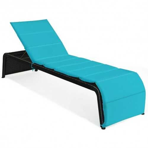 Patio Rattan Lounge Chair Back Adjustable Chaise Recliner  with Cushioned-Turquoise - Color: Turquoise