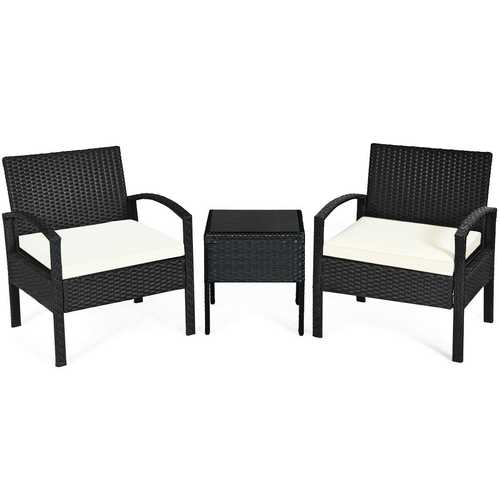 3 Pieces Outdoor Rattan Patio Conversation Set with Seat Cushions-White - Color: White