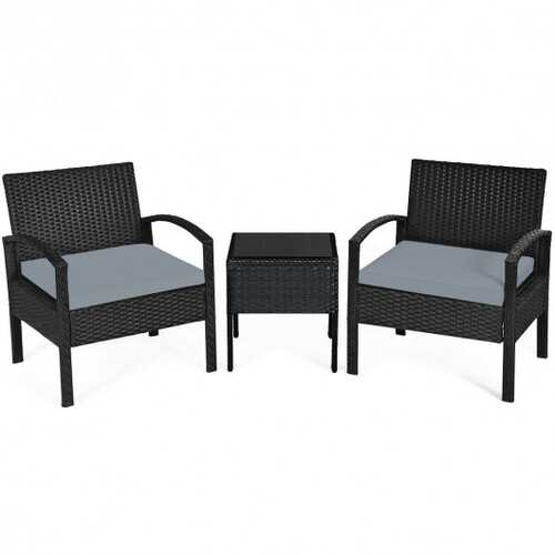 3 Pieces Outdoor Rattan Patio Conversation Set with Seat Cushions-Gray - Color: Gray