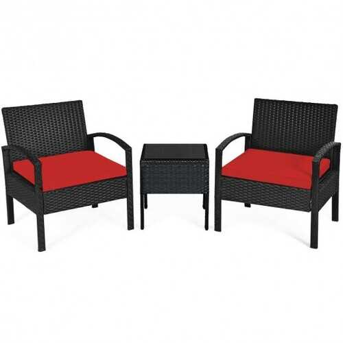 3 Pieces Outdoor Rattan Patio Conversation Set with Seat Cushions-Red - Color: Red