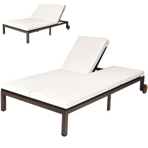 2-Person Adjustable Patio Rattan Lounge Chair with Wheels