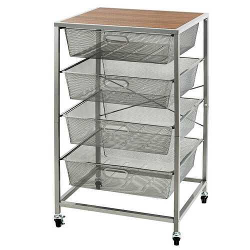 4 Drawer Mesh Shelves Basket Utility Heavy Duty Storage Organizer-Brown
